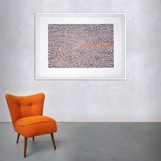 Map of Greater London neon orange/bark Parsons Green, Hampstead Heath, Richmond Park, Old Street, Greater London, Screen Printing, Graphic Art, Maps, Neon