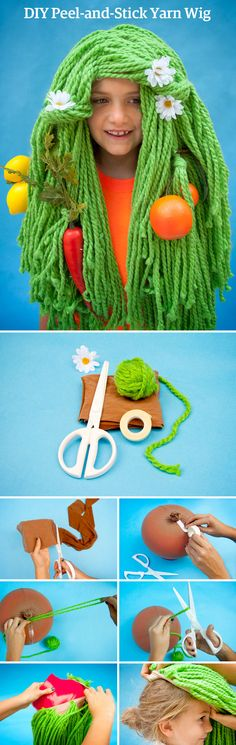 Dress your kid up like a backyard garden with this easy yarn-wig tutorial on the Etsy Blog. #DIY #etsyhalloween