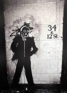 Richard Hambleton & Basquiat, photo by Lois Stavsky