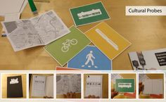 Graphical on one side Cultural Probes, Community Space, Co Design, Design Research, Design Thinking, Diaries, Storytelling, Graphic Art, Public