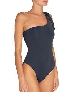 A playful one-shoulder, with knotted detail, modernizes a classic one piece silhouette. Two Piece Swimsuits, One Piece Swimsuit, Pearl Boutique, One Shoulder Swimsuit, Heidi Klum, Stella Mccartney, Bikinis, Swimwear, Bodysuit