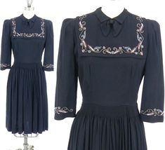 HOLD for Sarah 1940s Dress, Vintage 40s Swing Dress, Black Beaded Rayon Crepe Day Dress