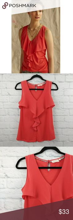 "Anthropologie Deletta Pinna Top Ruffle Small Anthropologie Deletta Pinna Top Ruffle Small.  Excellent pre-worn, no flaws.   Fabric is Cotton & modal.   Measurements are below, taken straight across with the Garment laying flat                                                      Bust- 16"",  Length -23"" Anthropologie Tops Tank Tops"