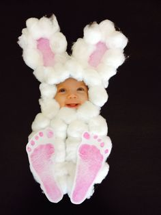 Your child's photo+cotton balls+construction paper.  Add footprints & embellish the ears.  TOO CUTE!  #craftsforkids
