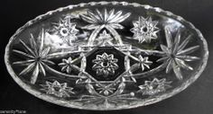 "EAPC Vintage Anchor Hocking PRESCUT Star of David  9"" Oval Serving Bowl Dish"