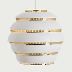 For Sale on - Alvar Aalto 'Beehive' pendant light for Artek in white and brass. Designed in 1953 and produced by its original manufacturer, Artek of Finland. Alvar Aalto, Chandelier Pendant Lights, Pendant Lamp, Nordic Design, Scandinavian Design, Selling Furniture, Modern Pendant Light, Dining Room Lighting, Ceiling Lamp