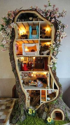 Multiple Story Fairy House. I would kill for my husband to do this for our little girls.