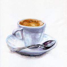 Espresso - ORIGINAL Painting (Still Life, Kitchen Wall Art, Coffee Illustration)
