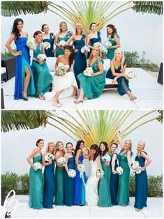 bridesmaid colors (non-matching) almost exactly what I want, but lighter green and darker blue Beach Wedding Bridesmaids, Bridesmaids And Groomsmen, Bridesmaid Dress Colors, Colored Wedding Dresses, Bridesmaid Ideas, Wedding Themes, Wedding Colors, Wedding Ideas, Party