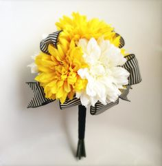 Reserved for KG - White and Yellow Wedding Bouquet with Silk Dahlias and Choice of Ribbon, Black & White Striped or Solid Grey. $54.00, via Etsy.
