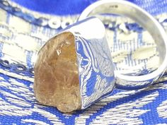 Chunky 925 Sterling Silver & Rough Citrine Ring (+Gift Bag) Size  L1/2 M, P1/2