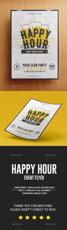 Happy Hour Flyer Template PSD. Download here: https://graphicriver.net/item/happy-hour-flyer/17278604?ref=ksioks