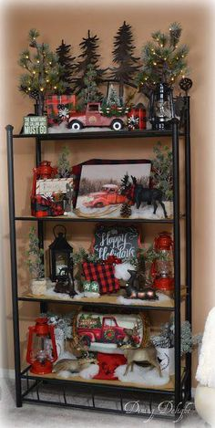 Dining Delight: Red Truck Christmas Etagere in living room Christmas Red Truck, Winter Christmas, Christmas Home, Christmas Wreaths, Plaid Christmas, Christmas Island, Merry Christmas, Xmas Holidays, Christmas 2019