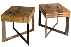 Retalho Cubo Stool    Solid Pieces of reclaimed wood on a steel weathered finish base.