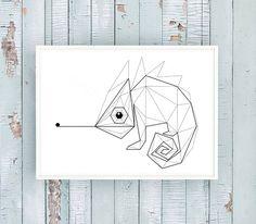 Digitaldruck - 'CHAMÄLEON' Origami Kunstdruck / Einsaushundert - ein…