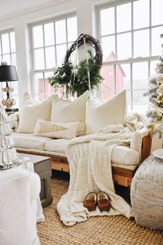Farmhouse Christmas Sunroom