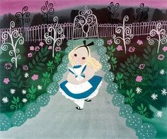 "Mary Blair concept art for Walt Disney's ""Alice In Wonderland"" (1951)"