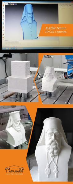 The stages of constructing a marble statue using our CNC: We create a gypsum model and use this to make its model, then we gradually shape it with increasingly finer details. Once created, you can replicate this statue at will. 5 Axis Cnc, 3d Cnc, Gypsum, Cnc Machine, Multifunctional, Marble, Construction, Statue, Create