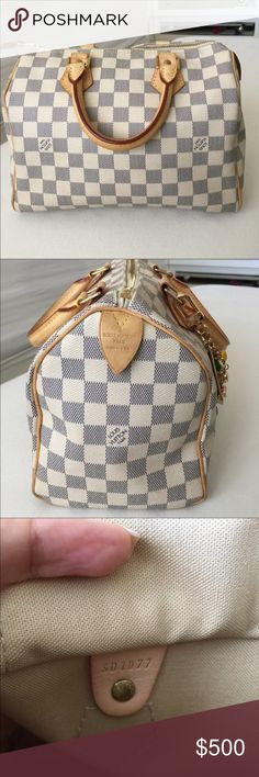 💯 authentic Louis Vuitton Azure Damier Speedy 25 iconic LV bag as it's very functional! No rips or scratches but show signs of wearing on exterior handle only. With Watermarks and oxidation Key and lock original authentic. Show signs of tarnish could be cleaned and polished.. overall in great condition. Previous listing of this bag was cancelled so yes it's the same bag.💕 Louis Vuitton Bags Satchels