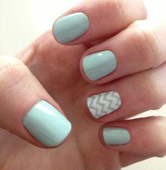 Mint chevron nails | Nails | Pinterest