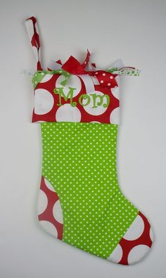 #EMD Christmas Stocking - Lime Mini Dots with Red Dandie by PoshBabyStore.com