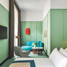 No two rooms are alike in @patricia_urquiola's Room Mate Giulia Hotel, located in the heart of Milan. Each room is color-coded blue, green or…