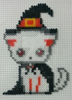 Halloween cat -- perler beads by CielHargreaves