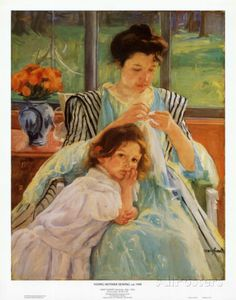 Young Mother Sewing Art Print Art Amour, Ouvrages D'art, Sewing Art, Pics Art, Mother And Child, Mother Mary, American Artists, Love Art, Art History