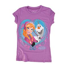 Disney Frozen Anna Heart Frame Girls Purple TShirt  6 ** You can get more details by clicking on the image.