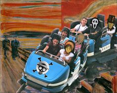 This one is very interesting.  The creator used the oringinal scream painting and added a rollercoaster inplace of the screaming fellow, however, some of the people heads are replace the the scream head; one head is actually the head from scream, the horror movie.  What catches my eyes is the sign on the rollercoaster though, the sign looks like the one from one piece.