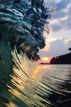~~Sea Glass ~ colorful crashing wave, tropical sunset beach, Cuba by Vitaliy Sokol~~