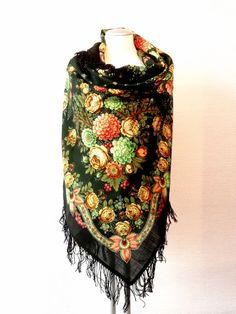 """Beautiful Original Pavlovo Posad (Pavloposad) Russian shawl """"Black Eyes"""" with woollen fringes.  Material: 100% wool New item with tags. Size:  49.2'' x 49.2'' / 125 cm x 125 cm (measured without fringes) Background colour - dark green. Elaborate designer's shawl, created by the artist Valeria Fadeeva."""