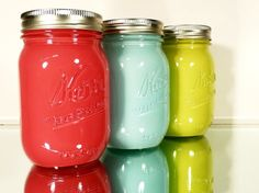 Painted Mason Jars - DIY - swirl paint inside of jars - could customize to wall coulours.