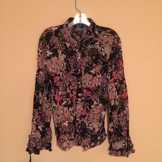 Rayon button down top by Angie Excellent condition. Rayon top button down top with floral/dragon design. Size large Angie Tops Button Down Shirts
