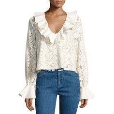 See By Chloe Ruffled Long-Sleeve Lace Top ($275) ❤ liked on Polyvore featuring tops, white, long sleeve lace top, long-sleeve peplum top, ruffle top, white crop top and v neck crop top