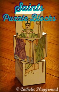 Introducing a new saints puzzle blocks template featuring four of our favorite saints, Saint Jude, Saint Patrick, Pope Saint John Paul II, and Saint Christopher! Great craft for feast days or All Saints' Day! Catholic Crafts, Catholic Kids, Catholic Saints, Catholic Homeschooling, Catholic School, Saint Jean Paul Ii, St John Paul Ii, Saint Jude, New Saints