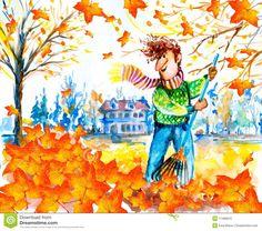 raking leaves painting - Google Search