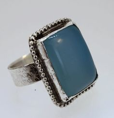 Blue Chalcedony Stone Ring Large Stone in by SilverSpiral1 on Etsy, $49.00