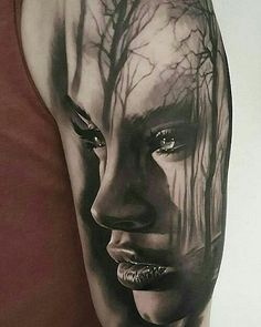 Shoulder Tattoo Girl Black Realism – Beautiful For Decoration – Tattoo Sketches & Tattoo Drawings Girl Face Tattoo, Face Tattoos, Leg Tattoos, Body Art Tattoos, Girl Tattoos, Sleeve Tattoos, Small Tattoos, Portrait Tattoo Sleeve, Best Tattoos For Women