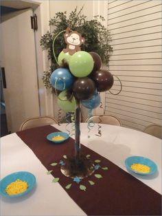 Without blue balloons - Themed Baby Shower Baby Party, Baby Shower Parties, Baby Shower Themes, Baby Boy Shower, Baby Shower Gifts, Shower Ideas, Baby Showers, Monkey Themed Baby Shower, Monkey Birthday