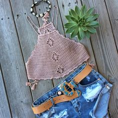 Handmade crochet crop top tank top by Imyourgypsy on Etsy