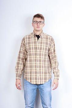 Gant Mens M Casual Shirt Cotton Check Brown Newport Poplin Vintage Retro Lumber