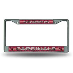 Arizona Cardinals Nfl Bling Glitter Chrome License Plate Frame