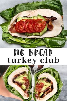 No brad turkey club sandwich wrapped in romaine lettuce. A low carb, paleo and keto friendly lunch option. Perfect for lunch meal prep. Low carb, high fat lunch that you can make ahead.