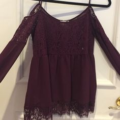 PacSun Size Small Off-The-Shoulder Blouse (New) Brand new, never worn w/ tags, beautiful burgundy blouse! PacSun Tops Blouses