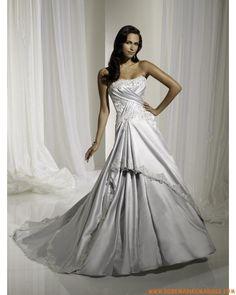Robe A-ligne en satin appliquée de plis et de broderies jupon robe de mariée