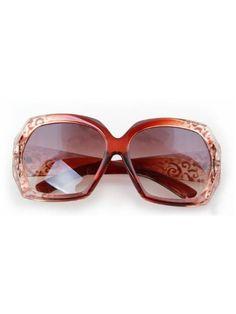 Coffee Striped Fashion Cat Eye Plastic Frame Sunglasses