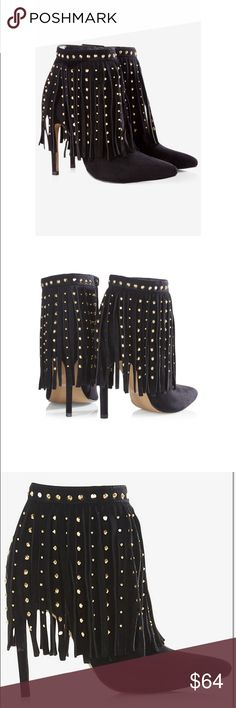 "NWT- Express Studded Fringe Runway Booties 🔥 Product Details Studded Fringe Heel Runway Bootie  Style # 0423060 Go all-out glam in a slim-heeled runway bootie with studded fringe. An authoritative look with an edge when you wear these with a pencil skirt and tucked-in blouse. Or just rock them out with scuba leggings or distressed denim and a moto jacket.  Ankle boot Studded fringe accents Pointed toe Slim 4"" covered heel Synthetic Imported Express Shoes Ankle Boots & Booties"