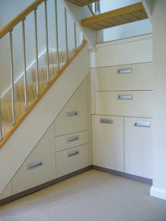 Under Stair Storage Giving More Spaces for Your Stuff : Simple White Under Stairs Design Ideas Staircase Storage, Stair Storage, Hidden Storage, Staircase Design, Closet Storage, Storage Shelves, Storage Ideas, Storage Drawers, Staircase Ideas