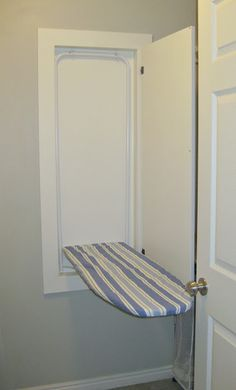 TDA decorating and design: Building An In The Wall Ironing Board - Part Finish Work & Installing the Ironing Board by jeri Laundry Closet, Laundry In Bathroom, Laundry Rooms, Mud Rooms, Small Laundry, Laundry Drying, School Bathroom, Diy Ironing Board, Build A Closet